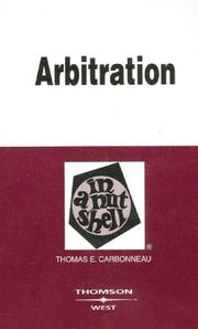 Cover of: Arbitration in a Nutshell (Nutshell Series)