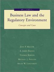 Cover of: Business Law and the Regualtory Environment