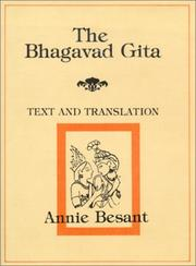 Cover of: Bhagavad Gita--Text and Translation by Annie Wood Besant