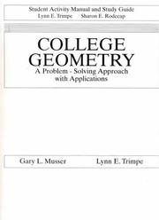 Cover of: Student Activity Manual for College Geometry | Trimpe