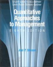 Cover of: Quantative Approaches to Management by Joel P. Stinson
