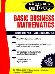 Cover of: Schaum's Outline of Basic Business Mathematics | Joel Lerner