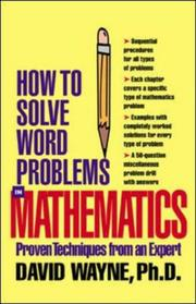 Cover of: How to Solve Word Problems in Mathematics by David S. Wayne