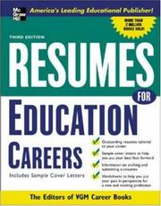 Cover of: Resumes for Education Careers | Editors of VGM, Editors of VGM Careers Books