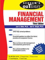 Cover of: Schaum's Outline of Financial Management, Third Edition (Schaum's Outlines) | Jae K. Shim