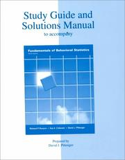 Cover of: Study Guide and Solutions Manual to Accompany Fundamentals of Behavioral Statistics | David Pittenger