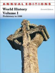 Cover of: World History: Prehistory to 1500 (Annual Editions : World History Vol 1) | David McComb