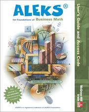 Cover of: ALEKS for Foundations of Business Math User Guide (Aleks Worktext) | ALEKS Corporation