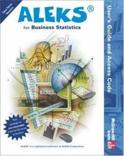 Cover of: ALEKS for Business Statistics User's Guide and  Access Code (Stand Alone for 2 semesters) | ALEKS Corporation