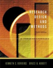 Cover of: Research Design and Methods | Kenneth S. Bordens; Bruce Barrington Abbott