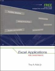 Cover of: Excel Applications for Investments with Excel Tutor CD ROM | Troy Adair
