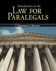 Cover of: Introduction to the Law for Paralegals by Deborah Benton