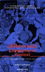 Cover of: Children's Social Competence in Context | B. Schneider