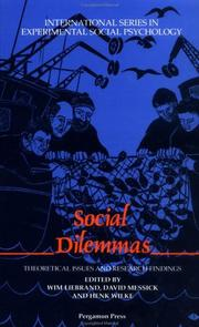 Cover of: Social Dilemmas by Wim Liebrand