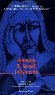 Cover of: Emotion and Social Judgements by Joseph Forgas