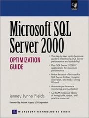 Cover of: Microsoft SQL Server 2000 optimization guide | Jenney Fields