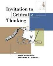 Cover of: Invitation to critical thinking by Joel Rudinow