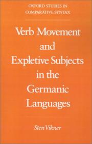 Cover of: Verb movement and expletive subjects in the Germanic languages by Sten Vikner