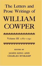 Cover of: The Letters and Prose Writings of William Cowper: Volume 3 by Cowper, William
