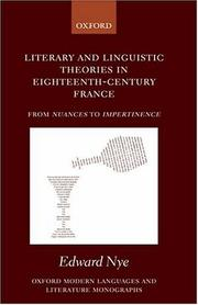 Cover of: Literary and linguistic theories in eighteenth-century France | Edward Nye