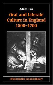 Cover of: Oral and literate culture in England, 1500-1700 | Fox, Adam