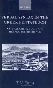 Cover of: Verbal syntax in the Greek Pentateuch | T. V. Evans
