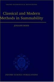 Cover of: Classical and modern methods in summability | Johann Boos