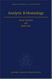 Cover of: Analytic K-homology | Nigel Higson