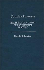 Cover of: Country lawyers | Landon, Donald D.
