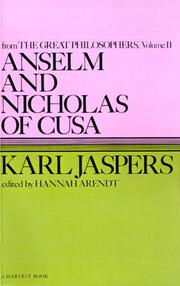 Cover of: Anselm and Nicholas of Cusa by Karl Jaspers