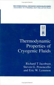 Cover of: Thermodynamic properties of cryogenic fluids by Richard T. Jacobsen