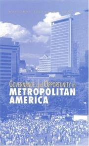 Cover of: Governance and Opportunity in Metropolitan America | National Research Council.