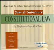 Cover of: Sum & Substance Audio on Constitutional Law | Mary M. Cheh