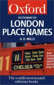 Cover of: A Dictionary of London Place Names | A. D. Mills