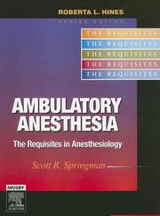 Cover of: Ambulatory Anesthesia | Scott R. Springman