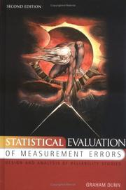 Cover of: Statistical evaluation of measurement errors | G. Dunn