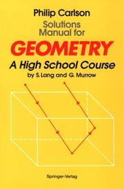 Cover of: Solutions manual for Geometry | Philip Carlson