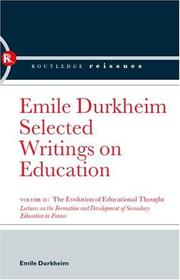 Cover of: The Evolution of Educational Thought | Émile Durkheim