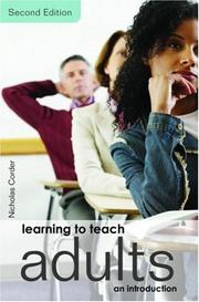 Cover of: Learning to Teach Adults | Corder