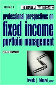 Cover of: Professional Perspectives on Fixed Income Portfolio Management, Volume 3 | Frank J. Fabozzi
