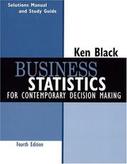 Cover of: Business Statistics, Student Study Guide | Ken Black