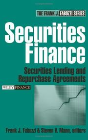 Cover of: Securities finance | Frank J. Fabozzi