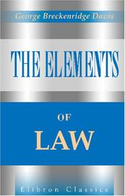 Cover of: The Elements of Law by George Breckenridge Davis