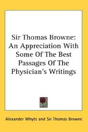 Cover of: Sir Thomas Browne | Thomas Browne