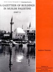 Cover of: A Gazetteer of Buildings in Muslim Palestine | Andrew Petersen