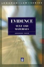 Cover of: Evidence by Andrew L. T. Choo
