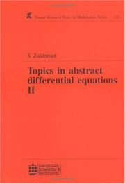 Cover of: Topics in Abstract Differential Equations II | S D Zaidman