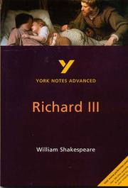 "Cover of: York Notes Advanced on ""Richard III"" by William Shakespeare by Rebecca Warren"