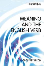 Cover of: Meaning and the English Verb by Geoffrey N. Leech