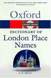 Cover of: A dictionary of London place-names | A. D. Mills